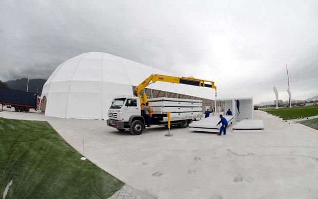 Obras na Cidade do Rock em 3 de agosto de 2011 (Foto: Alexandre Durão/G1)
