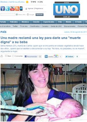 Caso de bebê que é mantida viva desde o nascimento repercute na mídia argentina (Foto: Reprodução/Diario Uno)