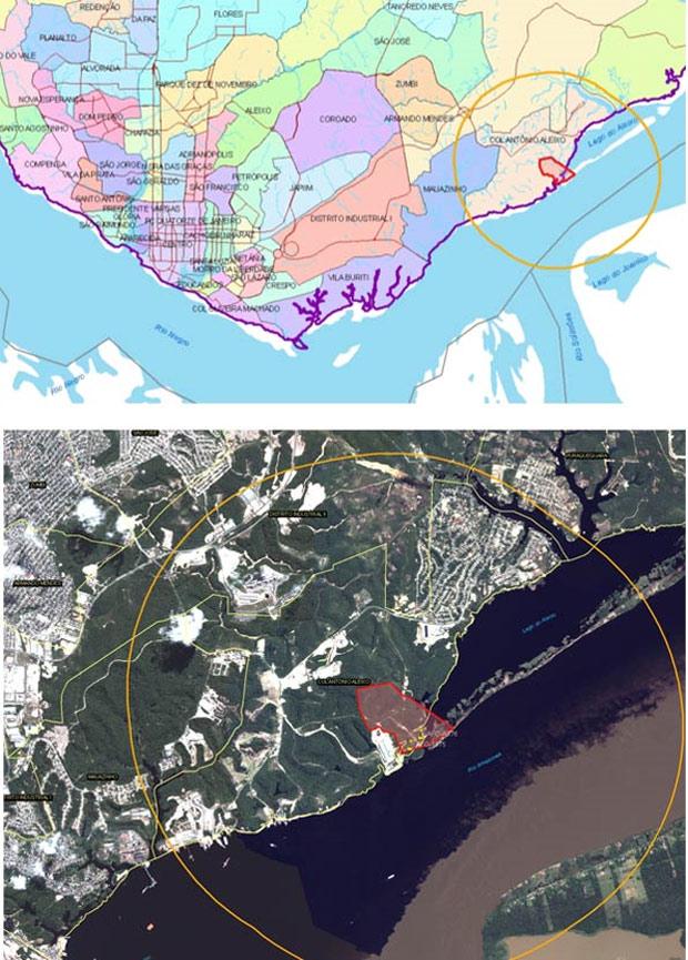 Mapa (acima) e imagem de satélite (abaixo) reproduzidos do estudo de impacto ambiental da obra mostram a localização do futuro terminal portuário (polígono destacado em vermelho). Na imagem de satélite é possível ver as águas com duas cores separadas passando diante do local.  (Foto: Reprodução)