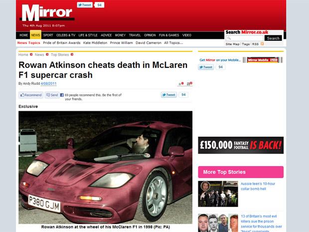 Site do The Mirror mostra foto do carro de Rowan Atkinson que teria se envolvido em acidente (Foto: Reprodução/The Mirror)