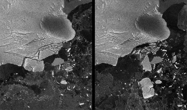 Imagem distribuída nesta terça-feira (9) pela Agência Espacial Europeia mostra a formação de icebergs na geleira Sulzberger, na Antártida, após o tsunami que atingiu o Japão em março. A foto da esquerda é de 12 de março e a da direita, de 16 de março. As imagens foram geradas por um time da agência espacial americana (Nasa) a partir de sinais de radar. O maior dos icebergs mede 6,5 km por 9,5 km e tem em torno de 80 metros. As ondas gigantes do tsunami percorreram mais de 13 mil km pelo Oceano Pacífico para chegarem à Antártida. Quando chegaram ao continente austral, tinham apenas 30 centímetros de altura, mas foi o suficiente para quebrar a geleira.  (Foto: ESA/Reuters)
