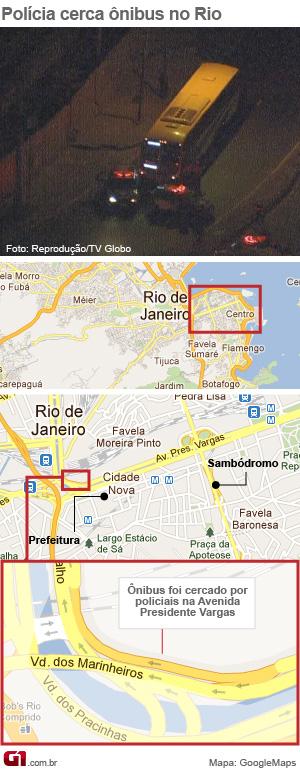 Assalto a ônibus fez reféns no Centro do Rio com foto (Foto: Arte/G1)