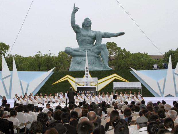 Nagasaki lembrou os 66 anos da bomba atômica que matou mais de 100 mil pessoas. (Foto: AP Photo/Kyodo News)