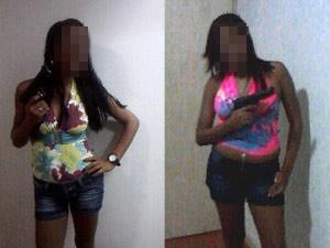 Duas mulheres de 21 anos aparecem segurando armas em fotos de celular de amiga morta em quartel da FAB neste domingo (7). Imagem foi alterada pelo G1 para preservar a identidade delas (Foto: Divulgação/Polícia Civil)