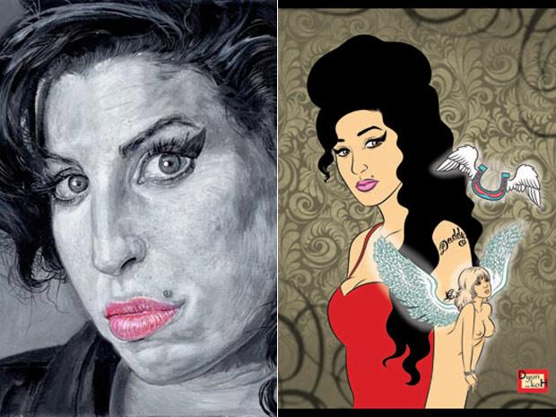 Ilustrações de Danyael Lopes e Vivi Yamabushi em homenagem à Amy Winehouse (Foto: Divulgação)