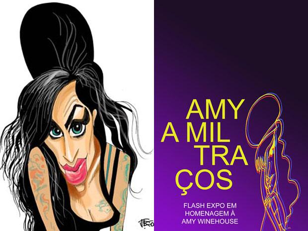 À esquerda, caricatura assinada por J. Bosco; ao lado, o cartaz da exposição (Foto: Divulgação)