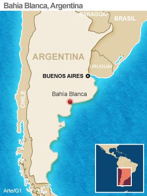 Mapa localiza Bahía Blanca (Foto: Arte/G1)