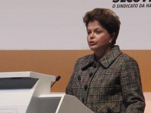 Dilma discursa durante evento em São Paulo (Foto: Angélica Oliveira/G1)