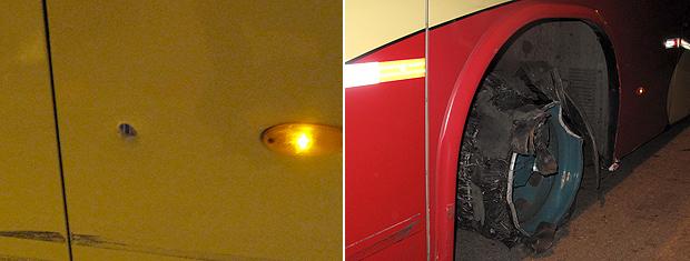 Lataria do ônibus ficou com marca de tiros, que também atingiram os pneus (Foto: Rodrigo Vianna / G1)