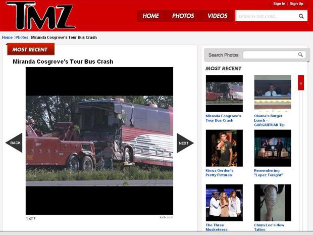 O ônibus da turnê de Miranda Cosgrove, após acidente (Foto: Reprodução)