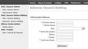 Campos de cadastro de usuário bidding em site de leilão. Sem CPF ou endereço, ele também pode apostar e vencer leilões (Foto: Reprodução)