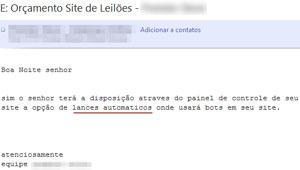 Em e-mail para leitor do G1, empresa que desenvolve sites admite a existência de lances automáticos feitos por 'robôs' (Foto: Reprodução)