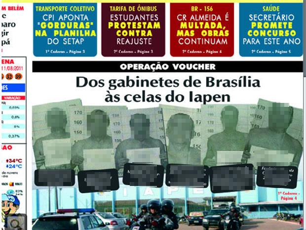 Reprodução da primeira página do jornal 'aGazeta' (Foto: Reprodução)