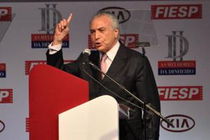 Michel Temer em evento da revista 'Isto É Dinheiro', em São Paulo, nesta quinta-feira (11) (Foto: Eduardo Enomoto / Agência Estado)