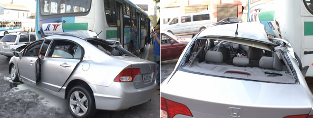 Carro bate ônibus (Foto: Reprodução/TVCA)