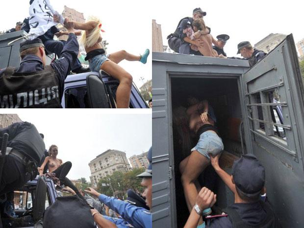 Tymoshenko foi presa sob acusação de abuso de poder. Os policiais detiveram as ativistas e as levaram à delegacia dentro do próprio caminhão que foi palco do protesto. (Foto: Genya Savilov/AFP)