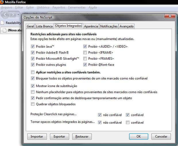 Nas opções do NoScript é possível desativar o Java e configurar uma lista branca de sites autorizados, caso alguma página precise do plugin (Foto: Reprodução)