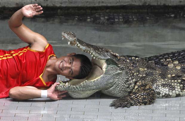 Theerapone Manolai durante o show no zoo Sriracha Tiger. (Foto: Sukree Sukplang/Reuters)