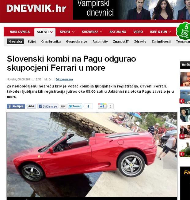 Ferrari foi parar na água após van bater em sua traseira. (Foto: Reprodução/Dnevnik.hr)