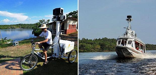 Trechos do Rio Negro e comunidades próximas, no estado do Amazonas, começaram a ser fotografadas para o serviço Street View, do Google. A região será incluída no serviço que permite, ao acessar o Google Maps, fazer um passeio virtual por meio de fotos em 360 graus. (Foto: Evaristo SA/AFP)