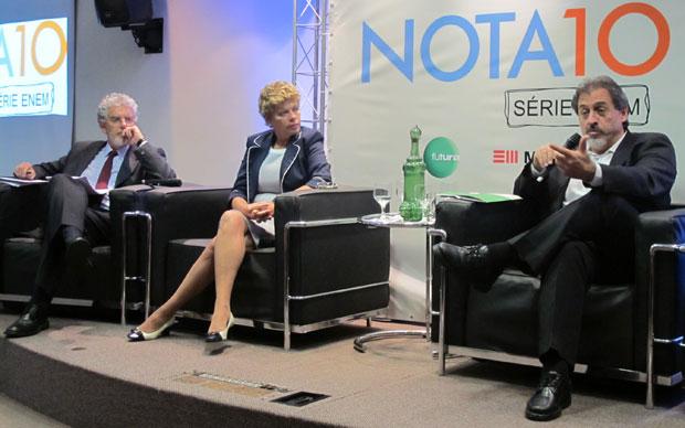 César Callegari, Malvina Tuttman e Carlos Artexes participaram de debate sobre o Enem  (Foto: Paulo Guilherme/G1)