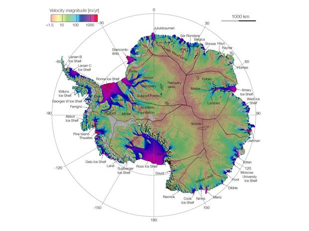 Mapa do deslocamento de gelo da Antártida usou dados de agências espaciais (Foto: Nasa/JPL-Caltech/UCI)