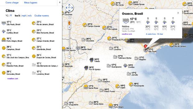 Novo serviço do Google Maps mostra as temperaturas nas principais cidades e a posição das nuvens na região (Foto: Reprodução)