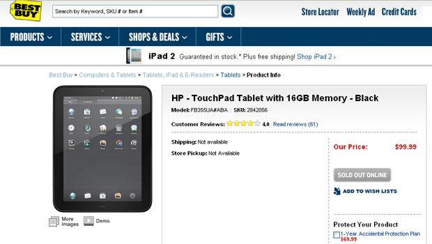 Tablet da HP é vendido por US$ 100 pela loja de eletrônicos Best Buy  (Foto: Reprodução)