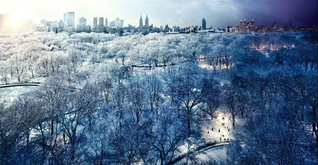 Wilkes foi um dia fazer fotos de um casal em seu apartamento para uma reportagem, e ficou fascinado com a vista do Central Park que eles tinham. Explicou seu projeto, e o casal ficou feliz em deixá-lo usar a varanda para fazer as fotos do parque - durante um dia inteiro. O fotógrafo e seu assistente ficaram na varanda 'emprestada' desde as primeiras horas do dia até tarde da noite, após uma das maiores nevascas dos últimos anos. (Foto: Stephen Wilkes/Divulgação)