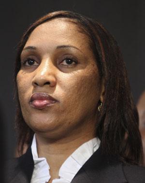 Nafissatou Diallo, durante coletiva de imprensa no dia 28 de julho (Foto: AP)