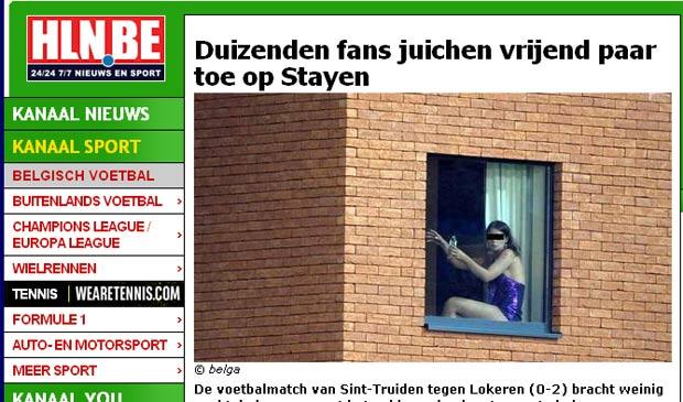 Casal foi flagrado fazendo sexo em janela com vistas para o estádio. (Foto: Reprodução/HLN)
