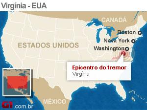 mapa terremoto eua versao 3 (Foto: Arte G1)