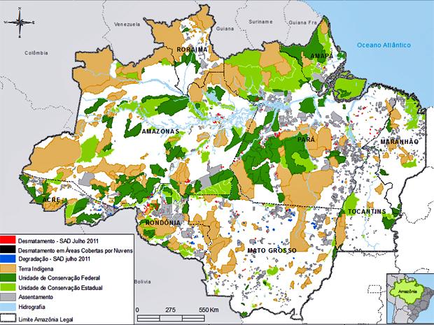 Mapa produzido pelo Imazon mostra em vermelho os pontos de desmatamento detectados pelos técnicos do instituto no mês de junho (Foto: Divulgação/Imazon)
