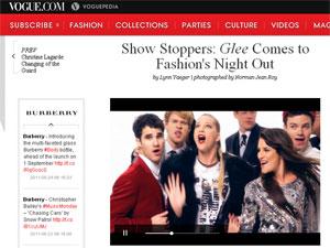 Elenco de 'Glee' gravou clipe para o Fashion's Night Out (Foto: Reprodução/Vogue)