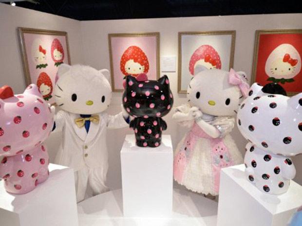 Exposição da Hello Kitty inaugurada no Japão nesta quarta-feira (24) (Foto: AFP)