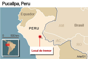 mapa terremoto peru 24/8 versão 1 (Foto: Arte G1)