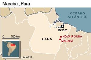 Mapa de Marabá (Foto: Editoria de Arte/G1)