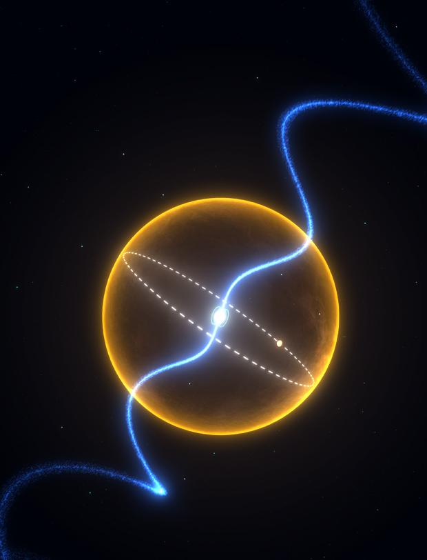 Ilustração mostra o pulsar, no centro, sendo rodeado por uma companheira provavelmente feita de diamante. (Foto: Science)