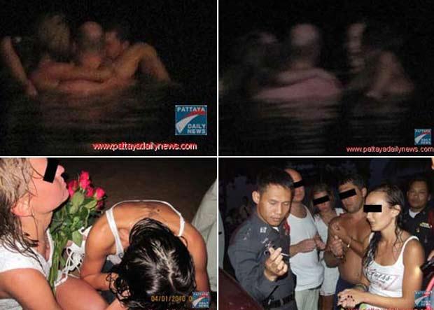 Dois casais russos foram presos em janeiro de 2010 na praia de Jomtien, em Pattaya, na Tailândia, após serem flagrados mantendo relações sexuais na praia e dentro do mar. (Foto: Reprodução)