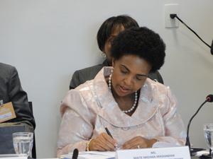 A ministra da África do Sul durante a reunião (Foto: Pedro Triginelli/G1)