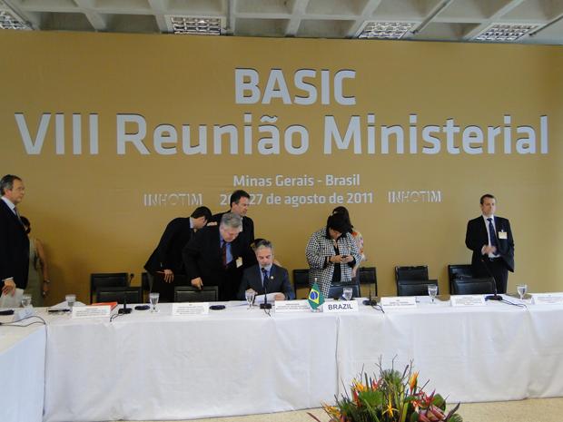 Ministros pouco antes do começo da reunião (Foto: Pedro Triginelli/G1)