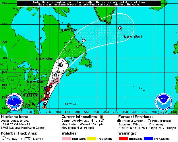 Mapa divulgado pelo Centro Nacional de Furacões dos EUA mostra a trajetória prevista para o Irene nos próximos dias. A área em branco deve ser atingida entre sábado (27) e segunda-feira (29). Já a área granulada mostra o provável percurso do furacão até a (Foto: Centro Nacional de Furacões/NOAA)