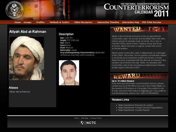 Perfil de Al-Rahman no site do Centro Nacional de Contraterrorismo (NCTC, na sigla em inglês). Segundo o órgão do governo norte-americano, ele se juntou à al-Qaeda ainda adolescente e era próximo de Bin Laden (Foto: www.nctc.gov / Reprodução)