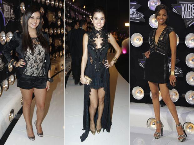 Rebecca Black, Selena Gomez e Zoe Saldana estão entre as primeiras celebridades a chegar para o VMA 2011, que acontece em Los Angeles (Foto: AP)