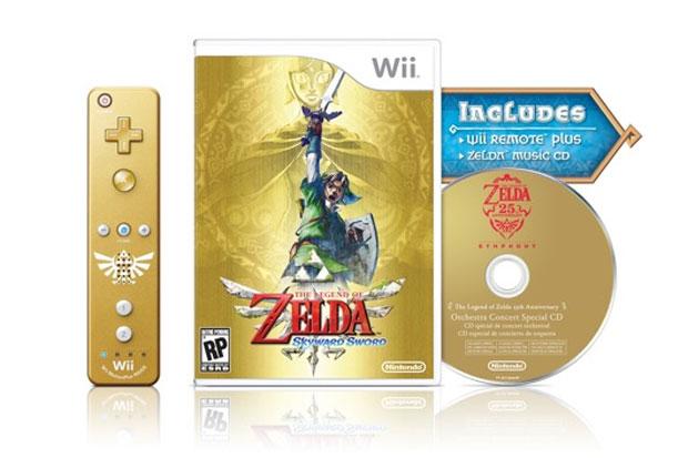A Nintendo irá lançar uma edição especial do game de aventura 'The Legend of Zelda: Skyward Sword'. Além do game, o pacote terá um jpystick Wii Remote especial na cor dourada, em homenagem ao título. O pacote custará US$ 70 nos Estados Unidos, enquanto o game sozinho sai por US$ 50. A edição especial ainda virá com um CD que trará músicas orquestradas de toda a franquia, que comemora 25 anos em 2011 (Foto: Divulgação/Nintendo)