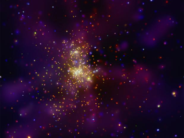 O aglomerado de estrelas Westerlund 2, na direção da constelação da Quilha (ou Carina, em latim) (Foto: NASA / CXC / Univ. de Liège / Y. Naze et al)