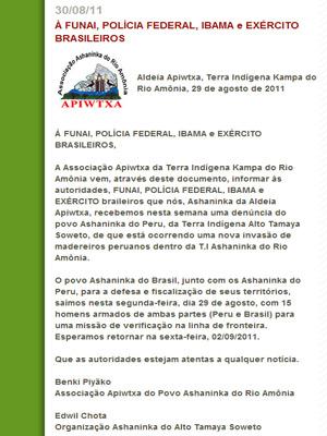 Índios brasileiros reclamam de invasão de madeireiros peruanos em terras indígenas brasileiras (Foto: Reprodução/Site Associação Apiwtxa do Povo Ashaninka do Rio Amônia)