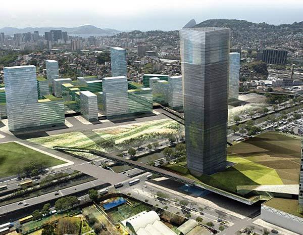Perspectiva da Avenida Francisco Bicalho com prédios de diferentes gabaritos, separados por áreas verdes (Foto: Divilgação/Cdurp)