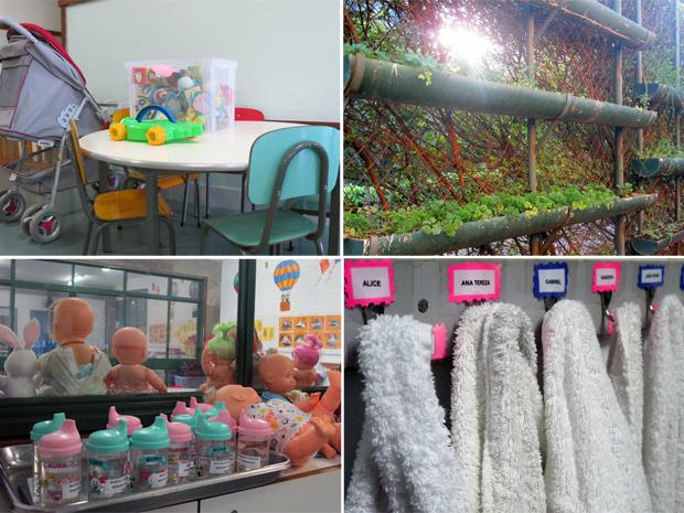 Creches oferecem brincadeiras, acompanhamento médico e até horta para crianças (Foto: Jamila Tavares/G1)