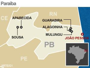 Cidades polarizadas por Sousa e Guarabira ficaram sem opções de atendimento bancário (Foto: Arte/G1)